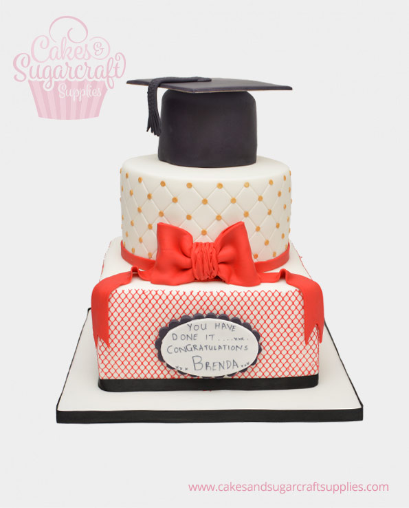 Red Bow Graduation Cake