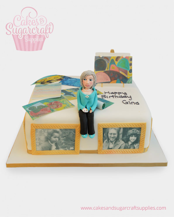 Artist Woman Birthday Cake