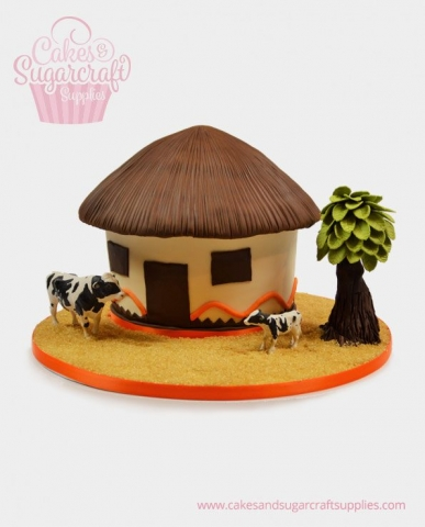 African Village Hut Birthday Cake