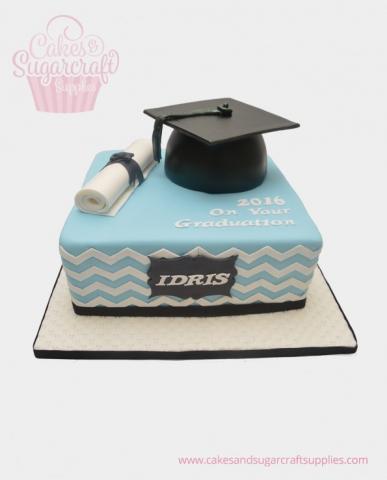 Chevron Graduation Cake
