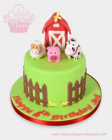 Farm Yard Animals Birthday Cake