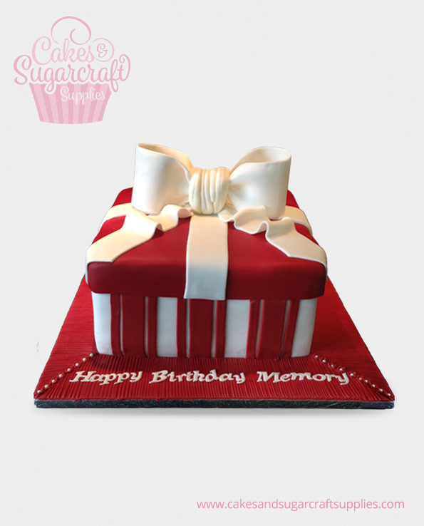 Red White Bow Parcel Birthday Cake