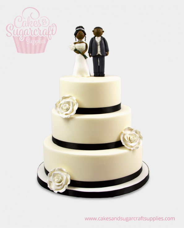 Black and Ivory Wedding Cake