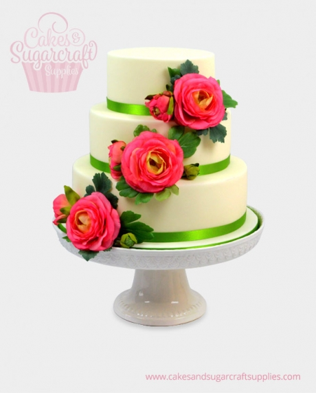 Triple Rose Wedding Cake