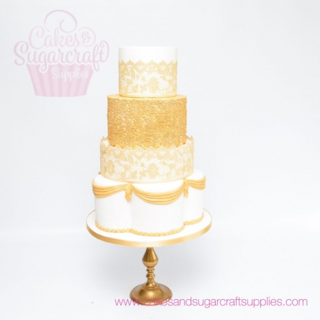 gold cake lace wedding cake